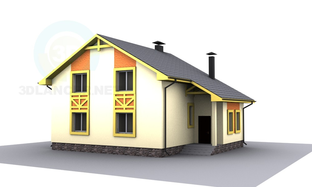 3d model attic house - preview