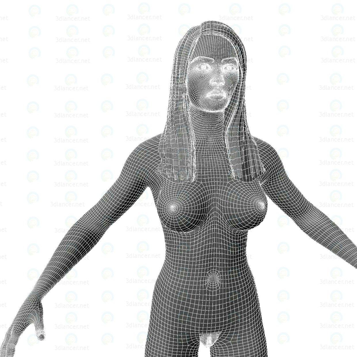 Chica desnuda Simple 3D modelo Compro - render