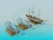 Сувенир корабль в бутылке