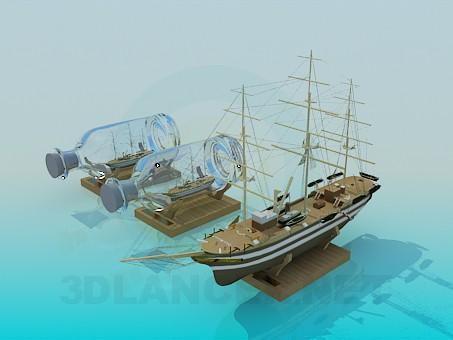 3d модель Сувенир корабль в бутылке – превью