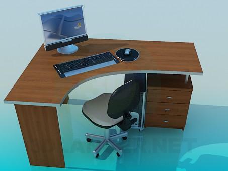 3d modeling Corner Computer Desk model free download