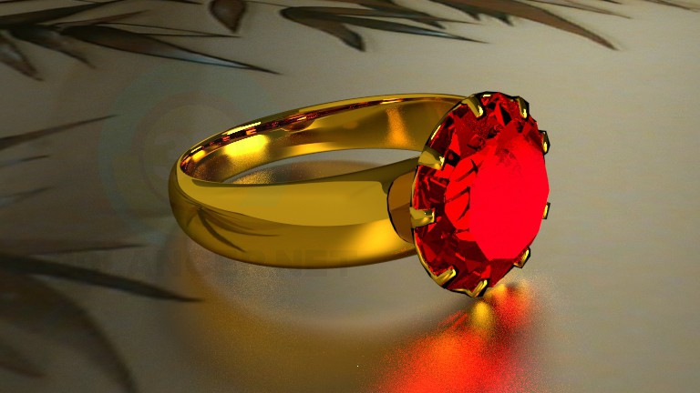 3d model ring with a stone - preview
