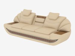 Triple leather sofa with tables