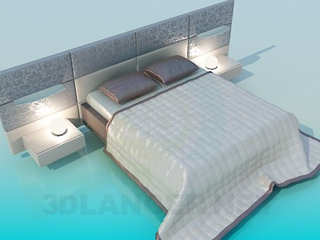 3d model Double bed with side tables - preview