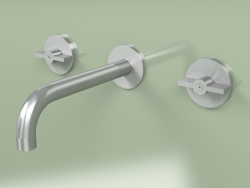 Wall set of 2 separate mixers with spout (19 10 V, AS)
