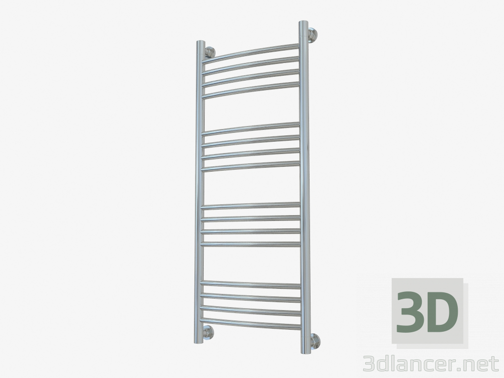 3d model Heated towel rail Bohemia + curved (1000x400) - preview