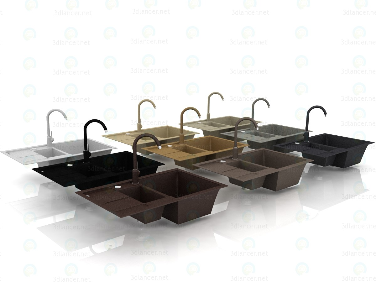 3d Granite sink Blanco Metra 6S Compact and Blanco Mida faucet. All colors. model buy - render