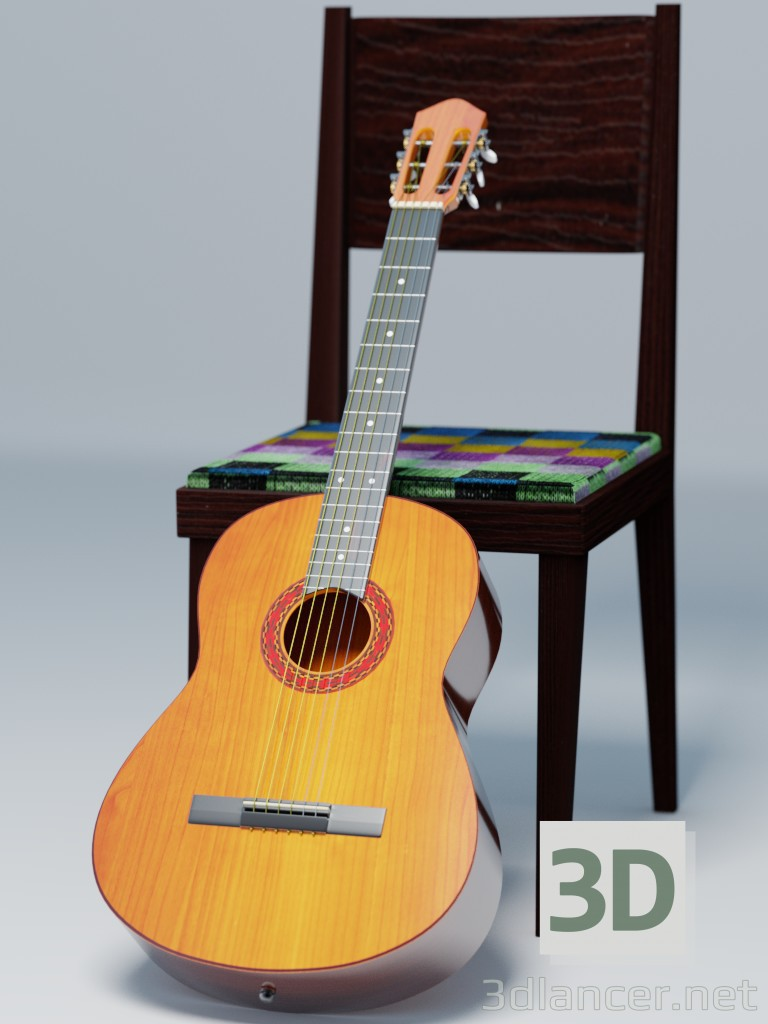 3d modeling Guitar model free download