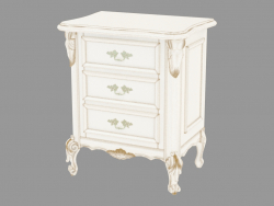 Bedside table three drawers BN8833 (white with gold patina)