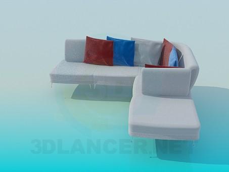 3d model Sofá de esquina con cojines de colores - vista previa
