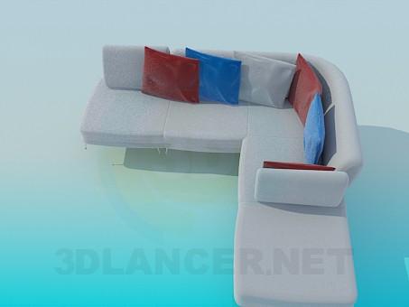 3d модель Угловой диван с цветными подушками – превью