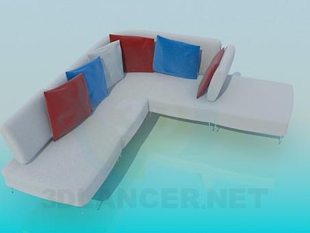 modelo 3D Sofá de esquina con cojines de colores - escuchar