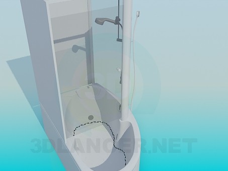 3d model Bath with shower - preview