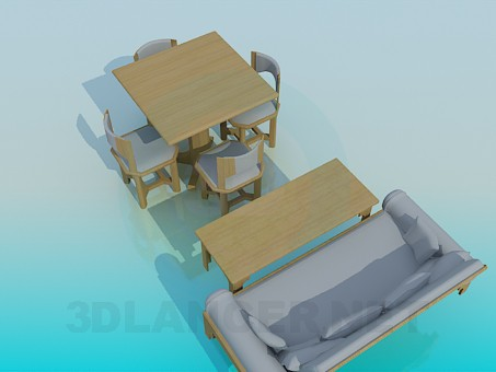 3d modeling Kitchen furniture set model free download