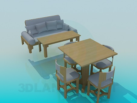 modelo 3D Conjunto de muebles de cocina - escuchar