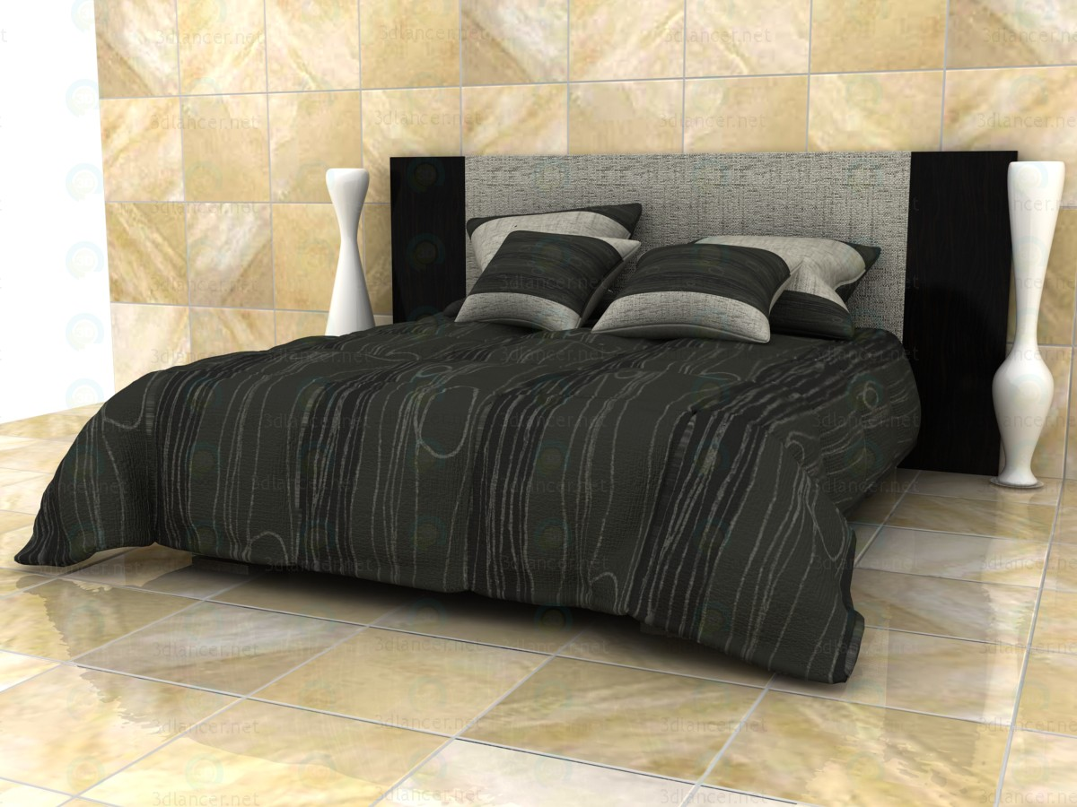 3D Model Double Bed With Quilted Blanket