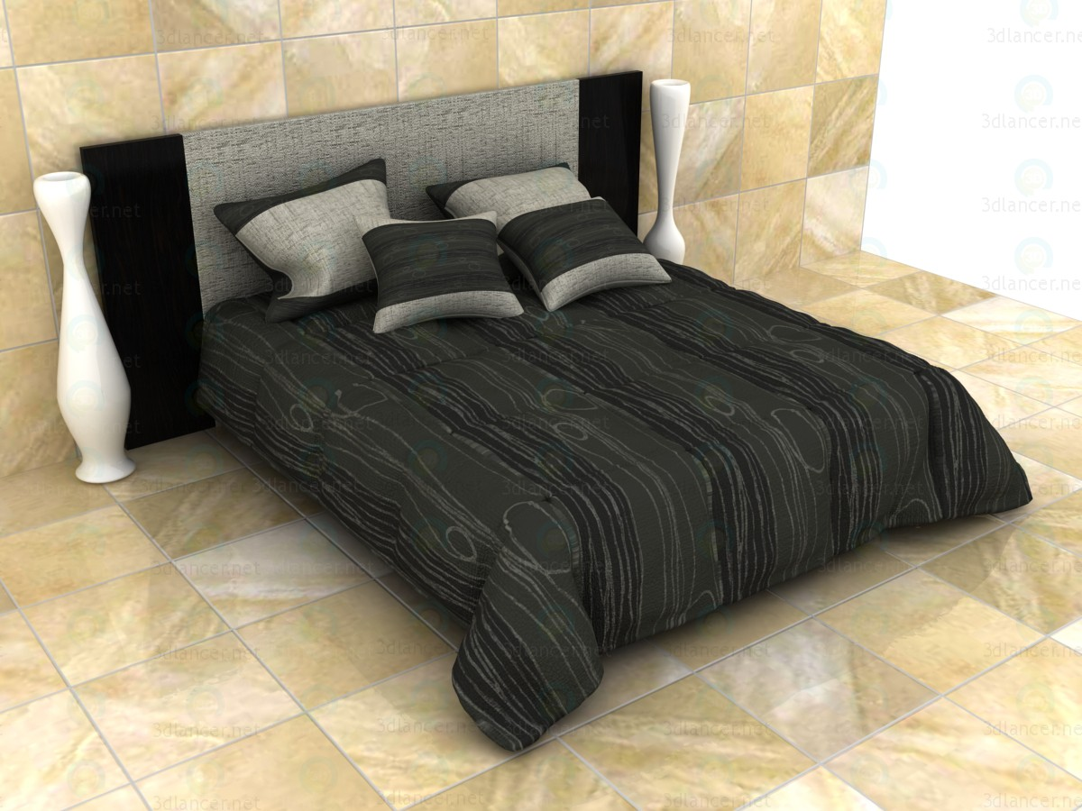 mod le 3d lit double avec couverture matelass e. Black Bedroom Furniture Sets. Home Design Ideas