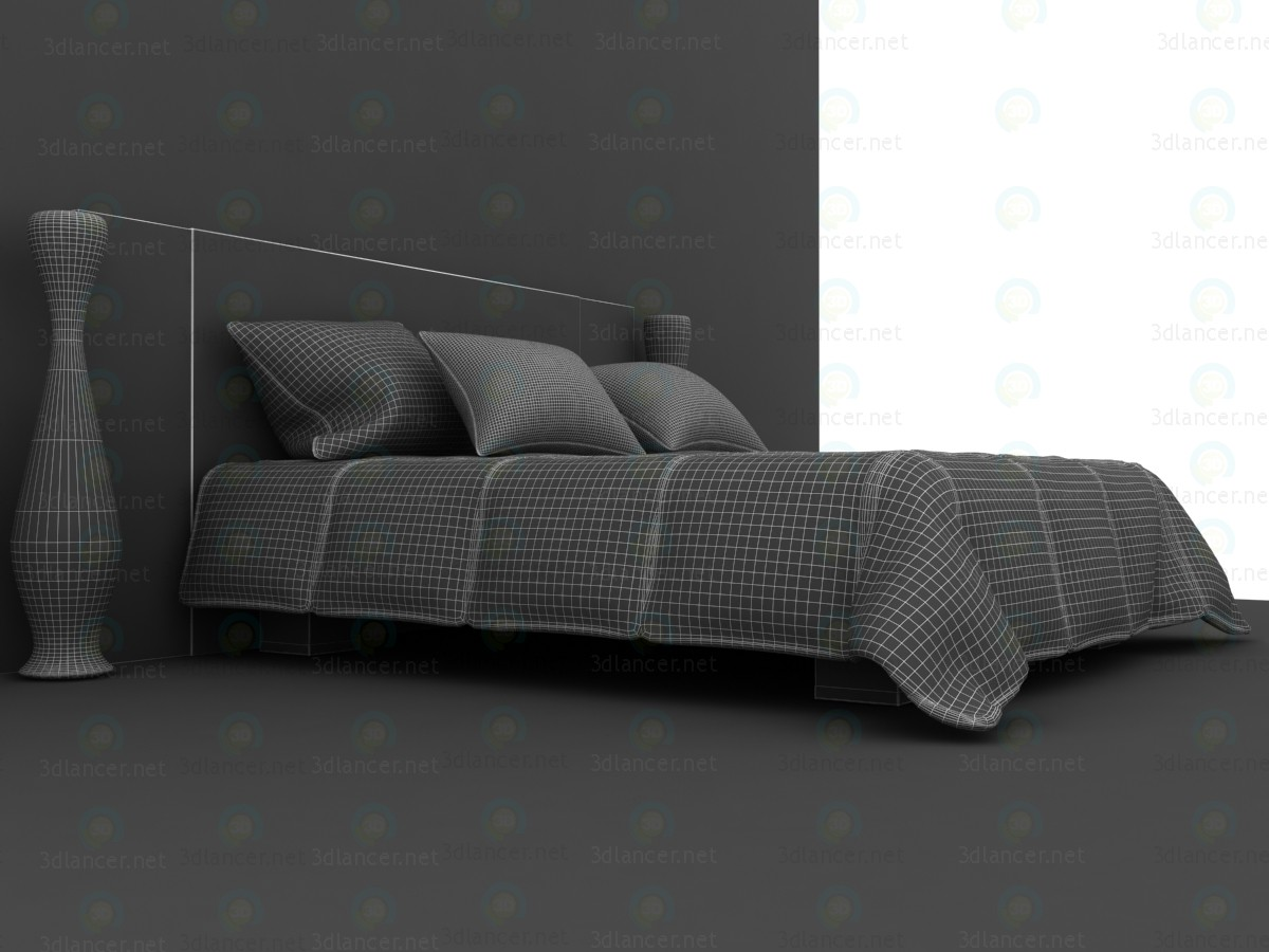 3d  Double Bed With Quilted Blanket  model buy - render