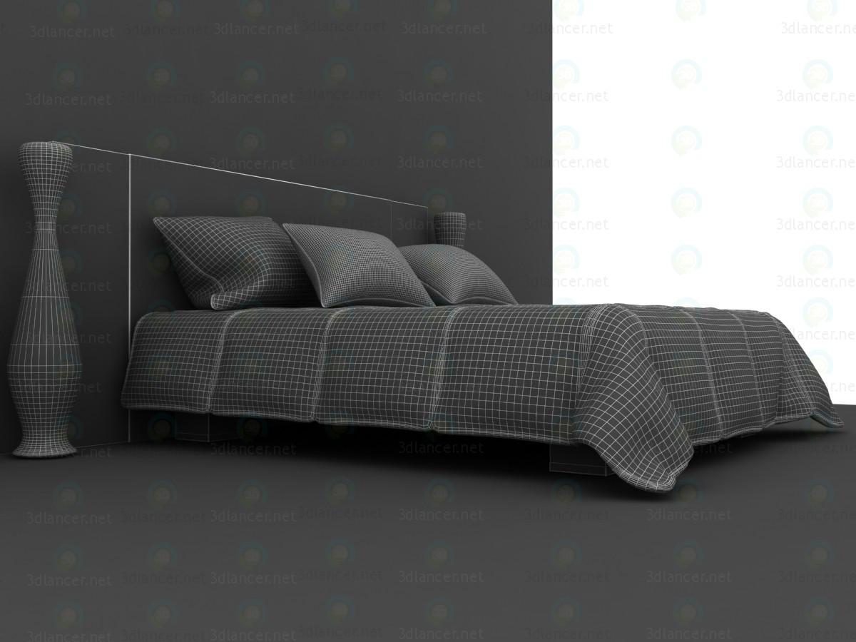 Cama doble con manta acolchada 3D modelo Compro - render