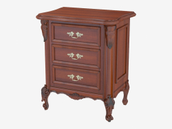 Bedside table three drawers BN8833 (wood with black patina)
