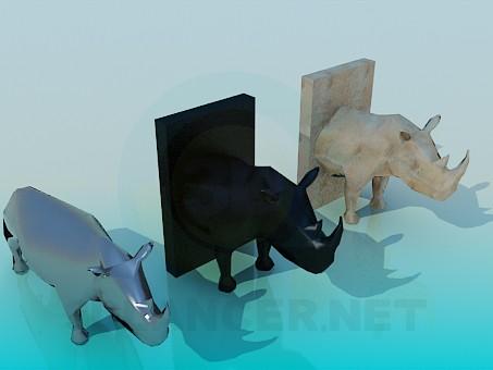 3d модель Чучело носорога – превью