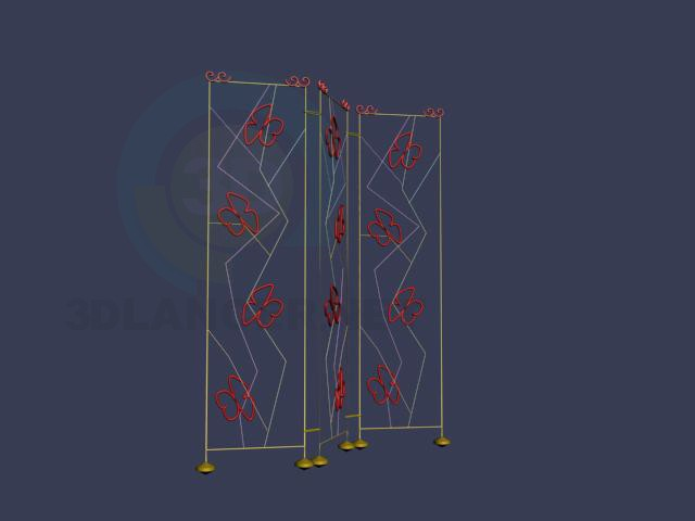 3d model Screen with butterflies - preview