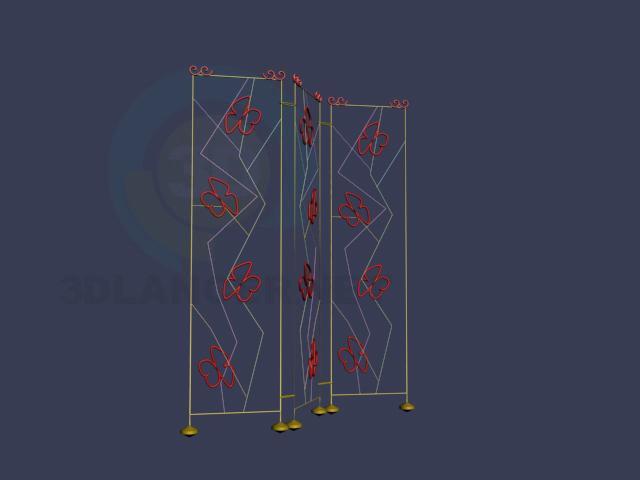 3d модель ширма з метеликами – превью