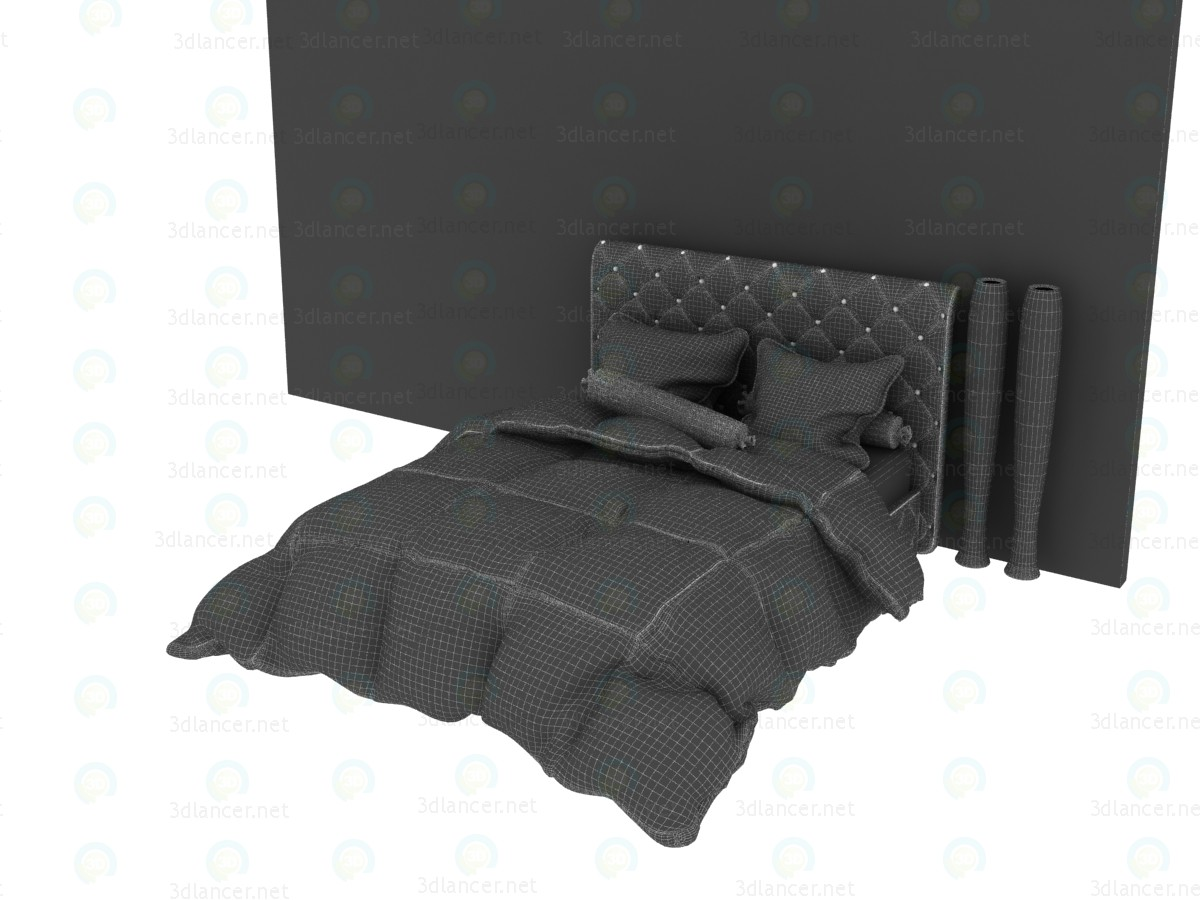 3d Neo-Baroque Style Double Bed With Quilted Blanket model buy - render