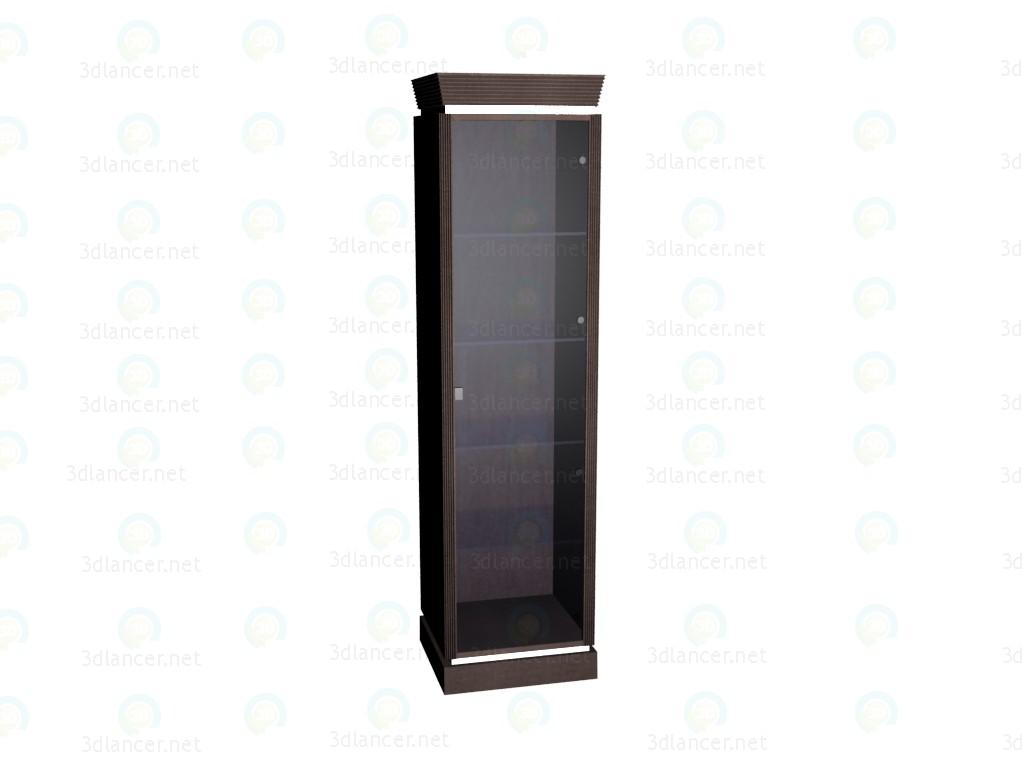 3d модель Витрина узкая с дверцами и полками из стекла – превью