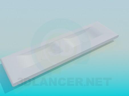 modelo 3D Lavabo plano doble - escuchar