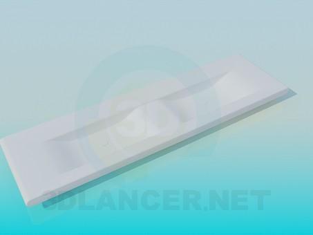 3d модель Плоский подвійний умивальник – превью