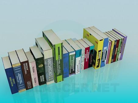 modelo 3D Libros en el estante - escuchar