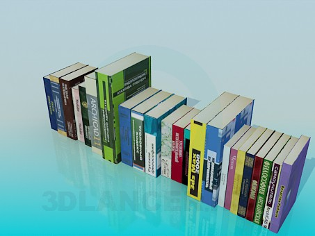 3d model Books on the shelf - preview