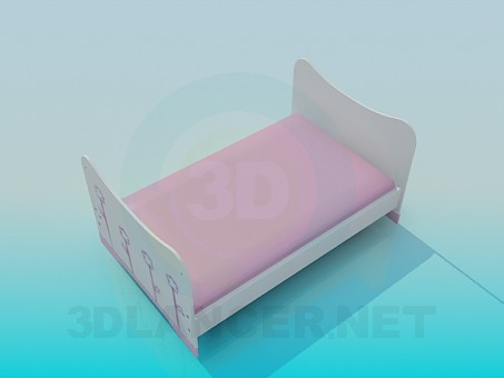 3d model Cot for baby girls - preview