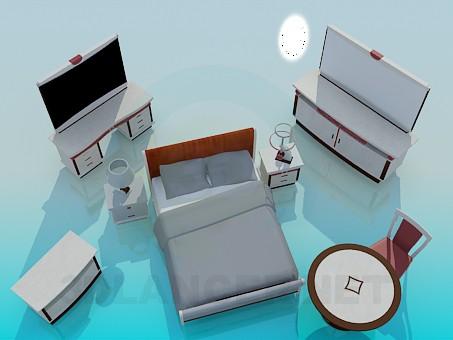 3d моделювання Комплект меблів для спальної модель завантажити безкоштовно