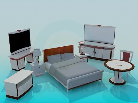 3d model Bedroom furniture set - preview