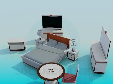 3d модель Комплект мебели для спальной – превью