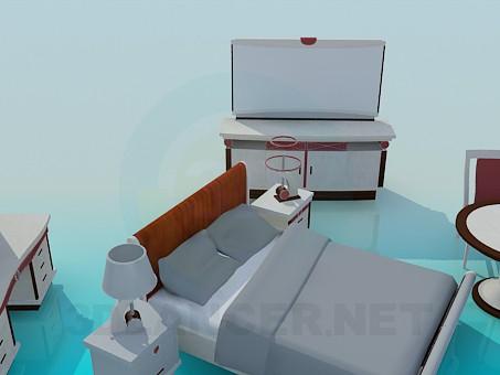 modelo 3D Muebles de dormitorio - escuchar