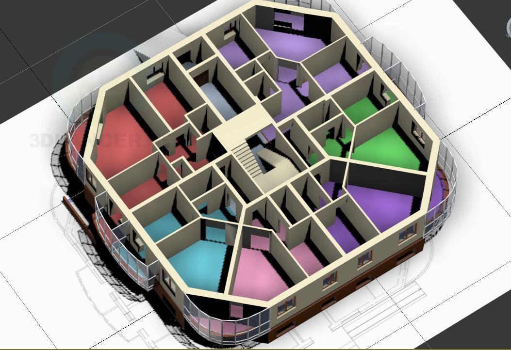 modelo 3D casa de 3 plantas - escuchar