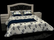 Sea style double bed with headboard Mobax 5198844
