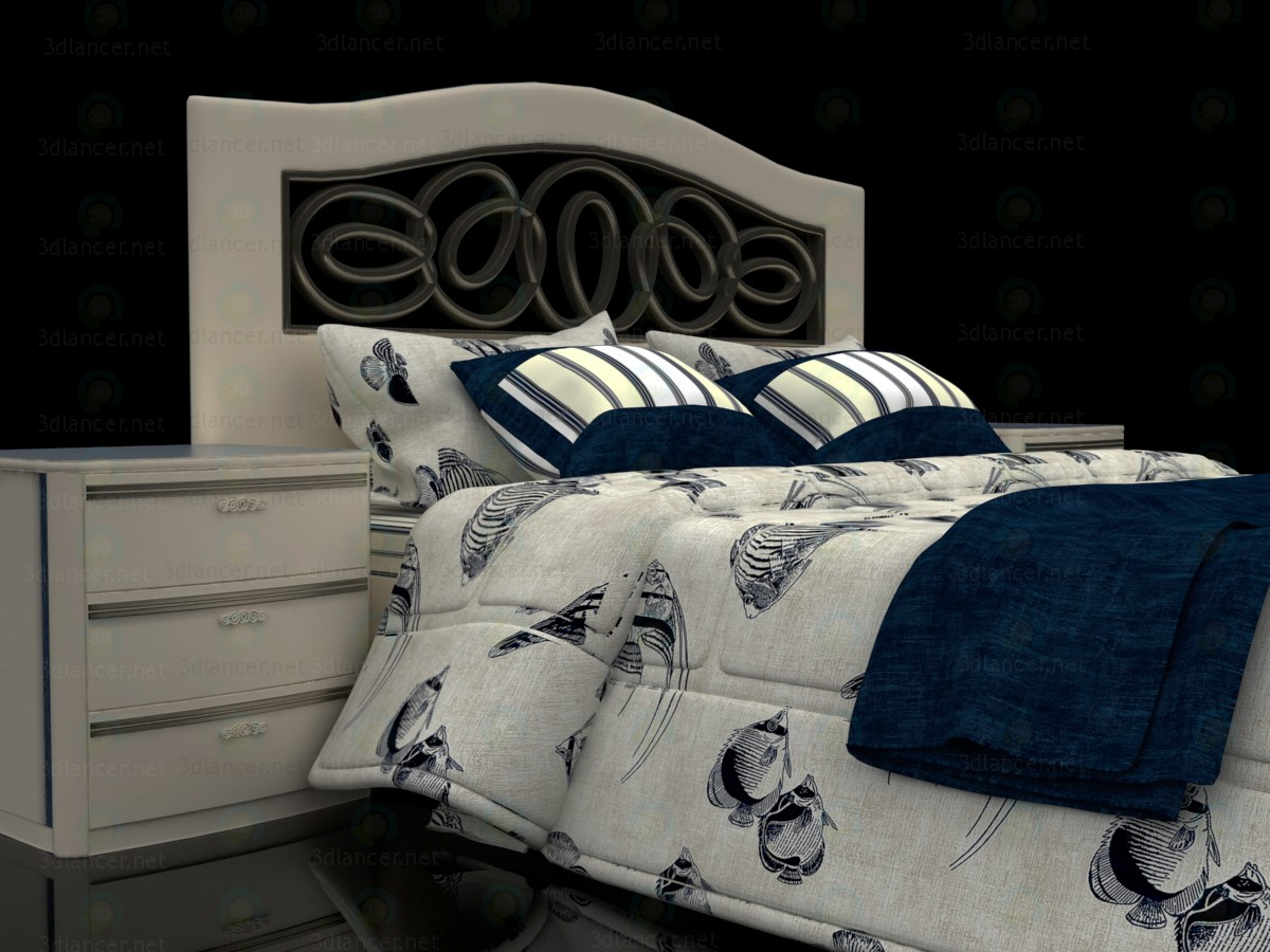 3d Sea style double bed with headboard Mobax 5198844 model buy - render
