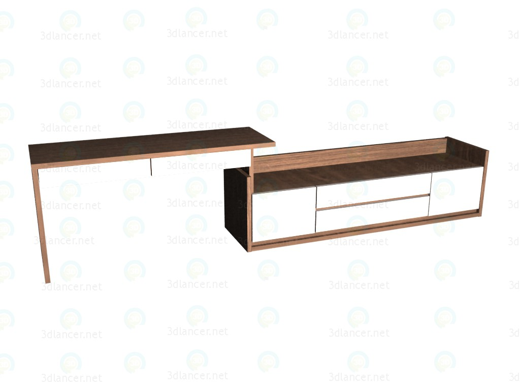 3d model Writing desk 150 with low, broad chest VOX - preview