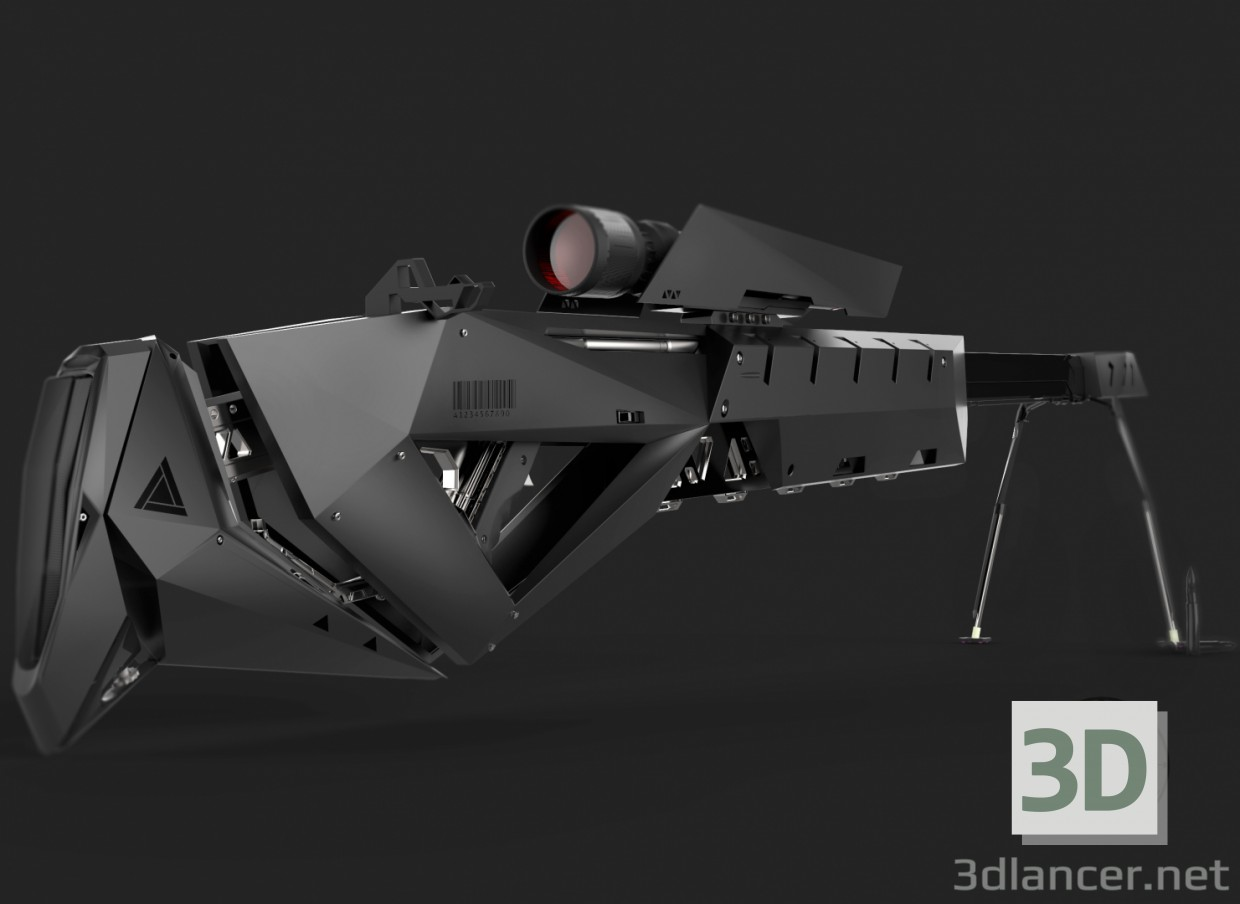 3d model sniper rifle - preview