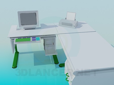 3d model Writing and computer desk - preview
