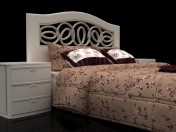 Floral design bed with headboard Mobax-5198844