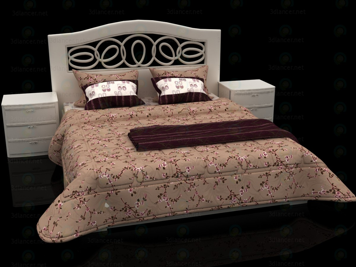 Cama de diseño floral con cabecera Mobax-5198844 3D modelo Compro - render