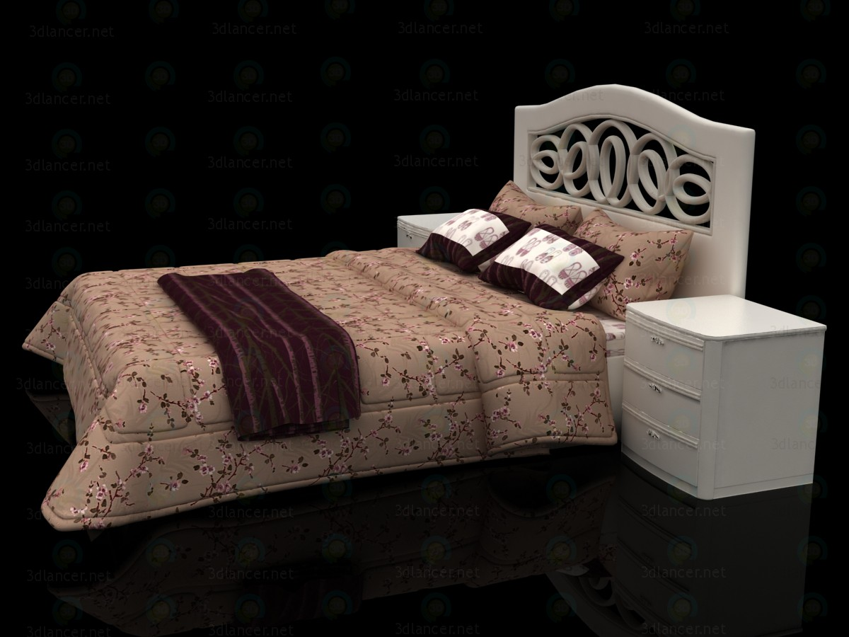 3d Floral design bed with headboard Mobax-5198844 model buy - render