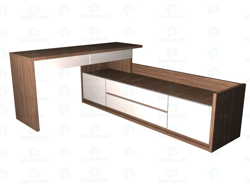3d model Writing desk 150 with low wide chest of drawers (2nd version location) - preview