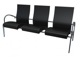 Wooden triple bench for conference