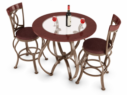 3 Piece Counter Height Matte Brown Bar Stool and Bistro Table Set